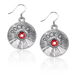 Rock On CD Charm Earrings in Silver
