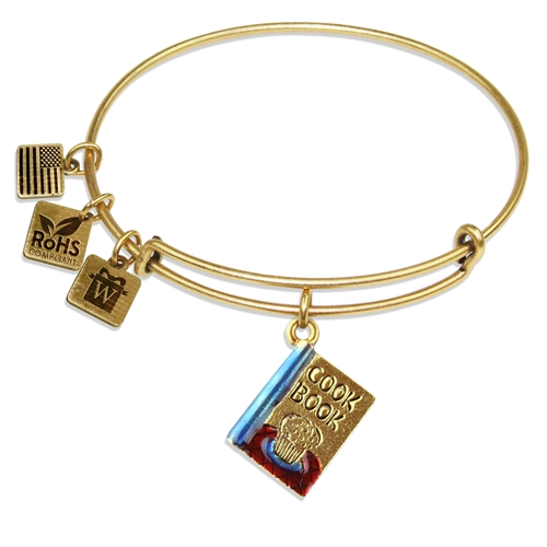 Cook Book Charm Bangle in Gold