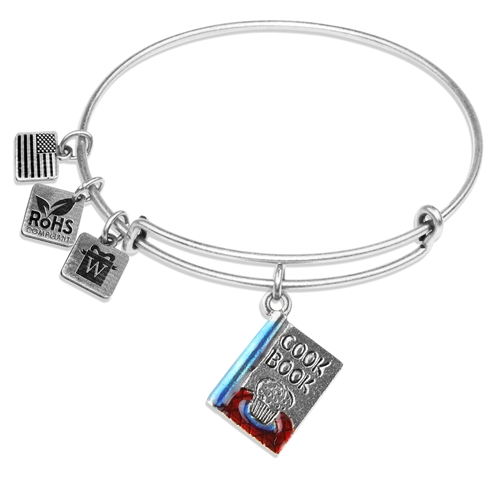 Cook Book Charm Bangle in Silver