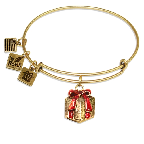 Christmas Present Charm Bangle in Gold