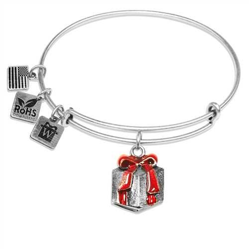 Christmas Present Charm Bangle in Silver