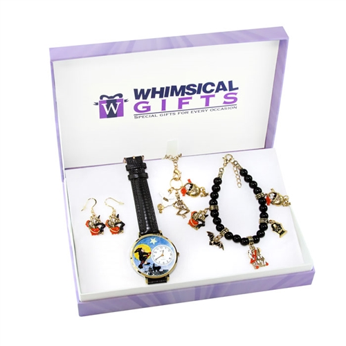 Whimsical Gifts Halloween Gold 4-piece Watch-Bracelet-Necklace-Earrings Jewelry Set