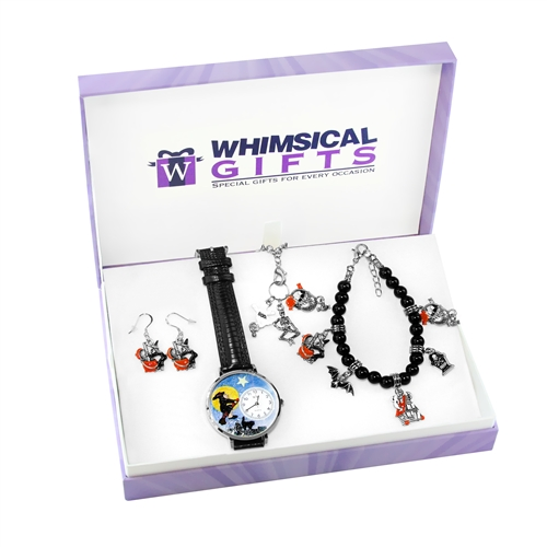Whimsical Gifts Halloween Silver 4-piece Watch-Bracelet-Necklace-Earrings Jewelry Set