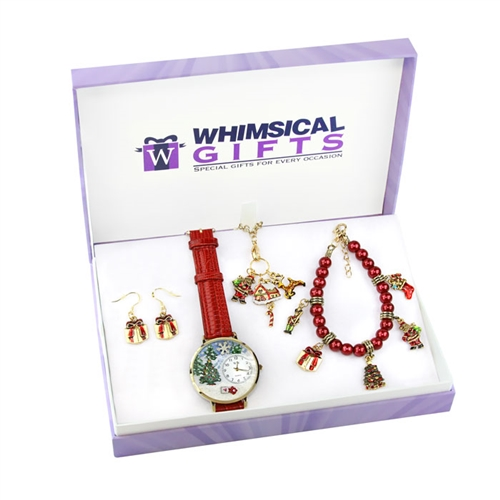 Whimsical Gifts Christmas Gold 4-piece Watch-Bracelet-Necklace-Earrings Jewelry Set
