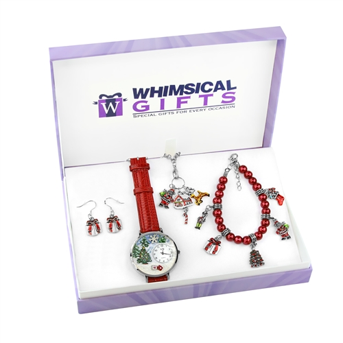 Whimsical Gifts Christmas Silver 4-piece Watch-Bracelet-Necklace-Earrings Jewelry Set