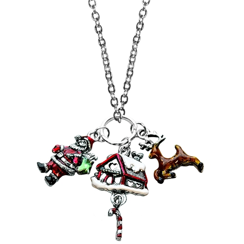 Christmas Charm Necklace in Silver