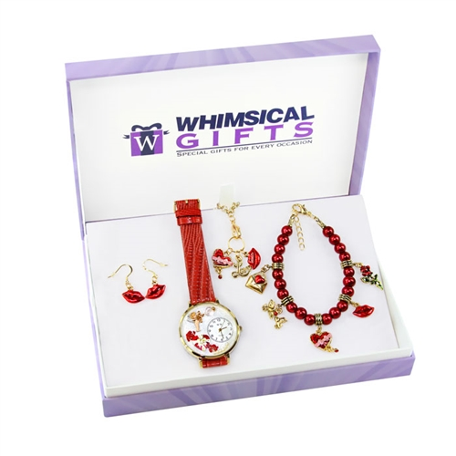 Whimsical Gifts Valentine's Day Gold 4-piece Watch-Bracelet-Necklace-Earrings Jewelry Set