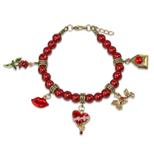 Valentines Day Charm Bracelet in Gold