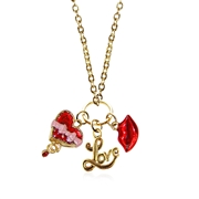 Valentine's Day Charm Necklace in Gold