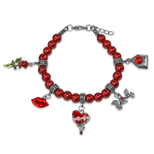 Valentines Day Charm Bracelet in Silver