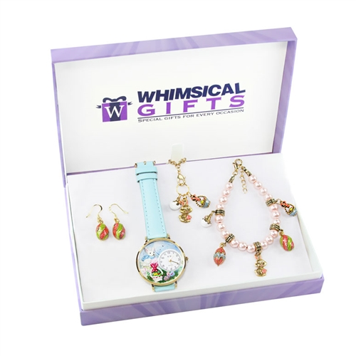 Whimsical Gifts Easter Gold 4-piece Watch-Bracelet-Necklace-Earrings Jewelry Set
