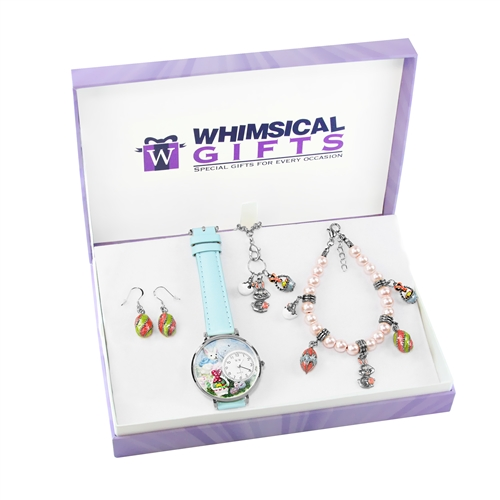 Whimsical Gifts Easter Silver 4-piece Watch-Bracelet-Necklace-Earrings Jewelry Set