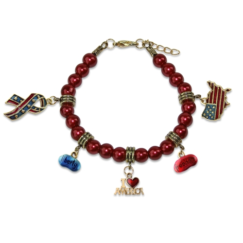 American Patriotic 4th of July Charm Bracelet in Gold