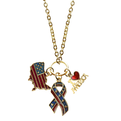 American Patriotic 4th of July Charm Necklace in Gold