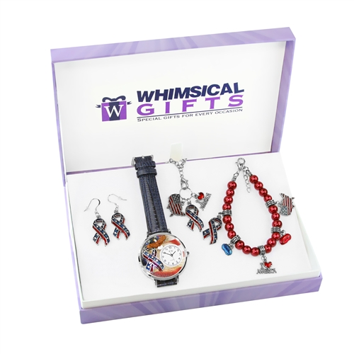 Whimsical Gifts American Patriotic July 4th Silver 4-piece Watch-Bracelet-Necklace-Earrings Jewelry Set