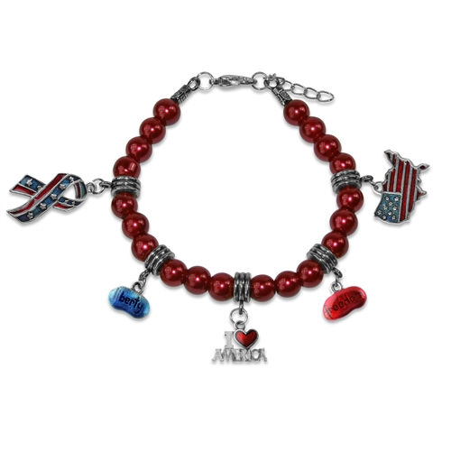 American Patriotic 4th of July Charm Bracelet in Silver