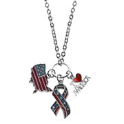 American Patriotic 4th of July Charm Necklace in Silver