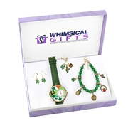Whimsical Gifts St. Patrick's Day Gold 4-piece Watch-Bracelet-Necklace-Earrings Jewelry Set