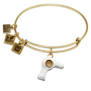 Hair Dryer Charm Bangle in Gold