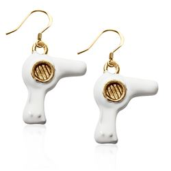 Hair Dryer Charm Earrings in Gold