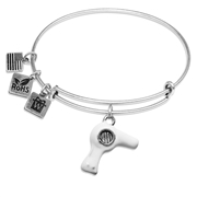Hair Dryer Charm Bangle in Silver