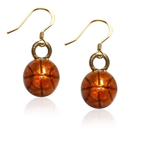 Basketball Charm Earrings in Gold