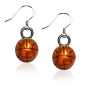 Basketball Charm Earrings in Silver
