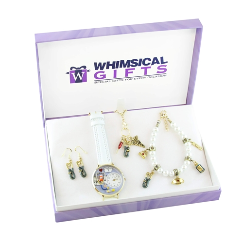 Whimsical Gifts Nurse Gold 4-piece Watch-Bracelet-Necklace-Earrings Jewelry Set