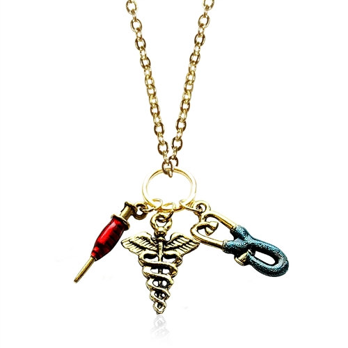 Whimsical Gifts Nurse Charm Necklace in Gold