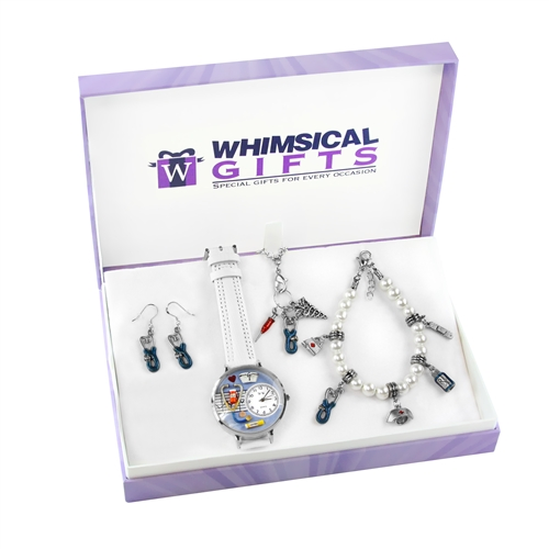 Whimsical Gifts Nurse Silver 4-piece Watch-Bracelet-Necklace-Earrings Jewelry Set