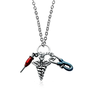 Whimsical Gifts Nurse Charm Necklace in Silver