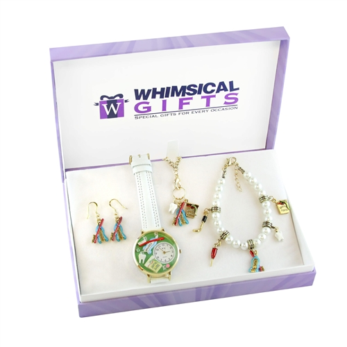 Whimsical Gifts Dental Gold 4-piece Watch-Bracelet-Necklace-Earrings Jewelry Set