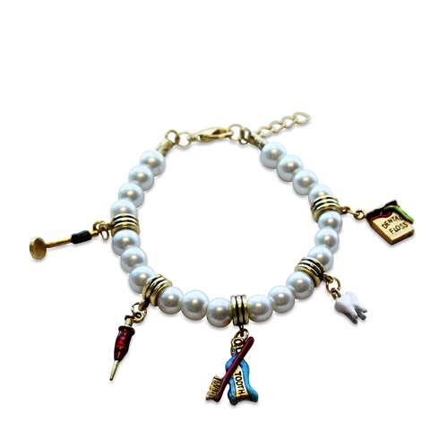 Whimsical Gifts Dental Assistant Charm Bracelet in Gold