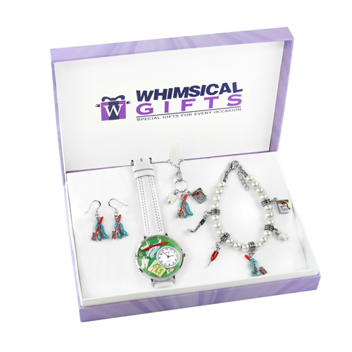 Whimsical Gifts Dental Silver 4-piece Watch-Bracelet-Necklace-Earrings Jewelry Set