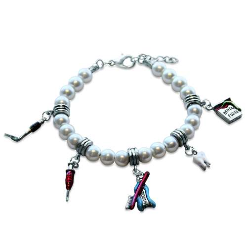 Whimsical Gifts Dental Assistant Charm Bracelet in Silver