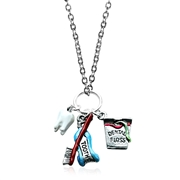 Whimsical Gifts Dental Assistant Charm Necklace in Silver