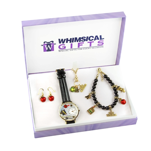 Whimsical Gifts Teacher Gold 4-piece Watch-Bracelet-Necklace-Earrings Jewelry Set