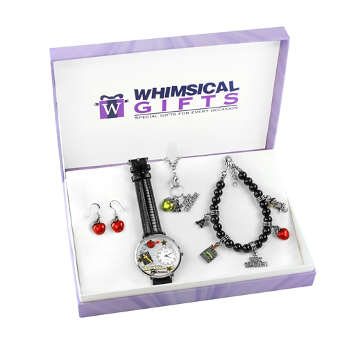 Whimsical Gifts Teacher Silver 4-piece Watch-Bracelet-Necklace-Earrings Jewelry Set