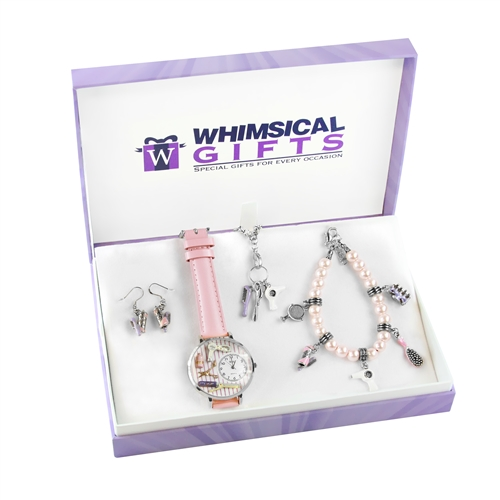 Whimsical Gifts Beautician Silver 4-piece Watch-Bracelet-Necklace-Earrings Jewelry Set