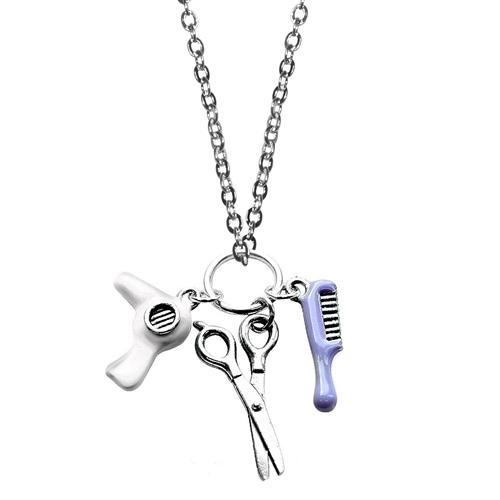 Beautician Charm Necklace in Silver