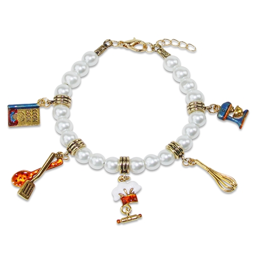 Chef Charm Bracelet in Gold