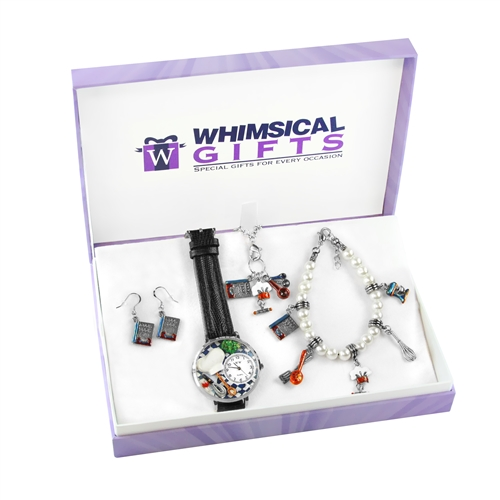 Whimsical Gifts Chef Silver 4-piece Watch-Bracelet-Necklace-Earrings Jewelry Set