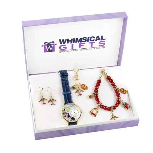 Whimsical Gifts Flight Attendant Gold 4-piece Watch-Bracelet-Necklace-Earrings Jewelry Set