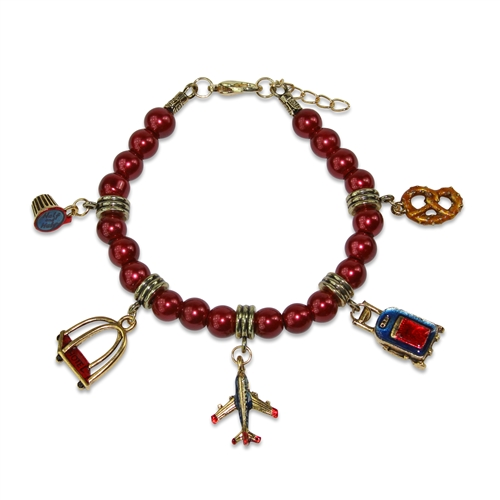 Flight Attendant Charm Bracelet in Gold