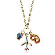 Flight Attendant Charm Necklace in Gold