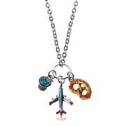 Flight Attendant Charm Necklace in Silver