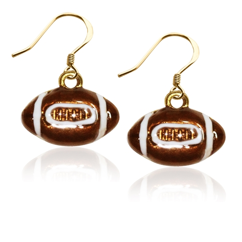 Football Charm Earrings in Gold