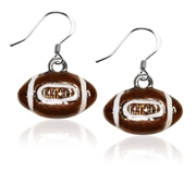Football Charm Earrings in Silver
