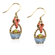 Easter Basket Charm Earrings in Gold