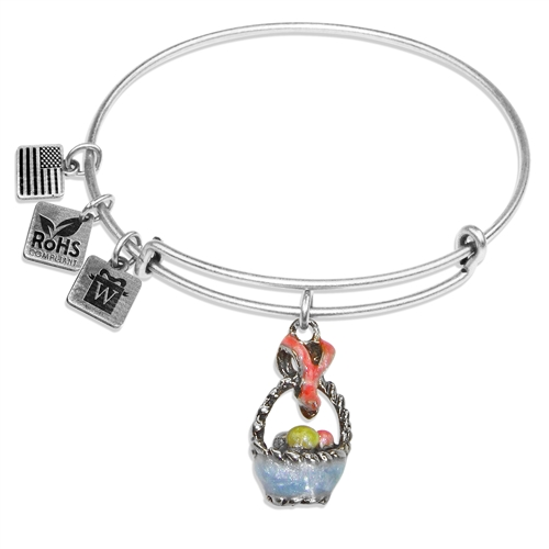 Easter Basket Charm Bangle in Silver